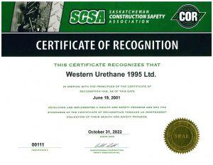 Western Urethane COR Safety